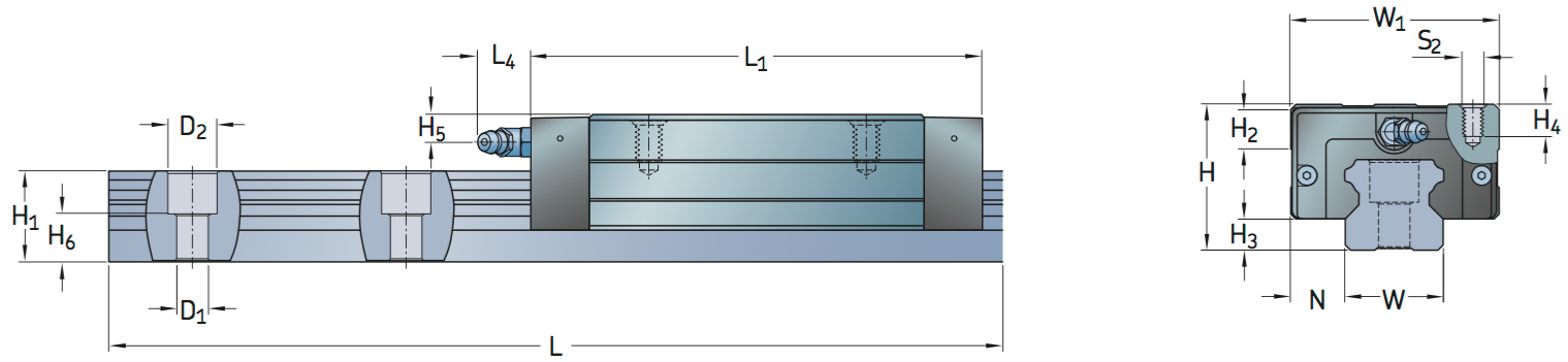 CAD LTHC LU profile rail carriage