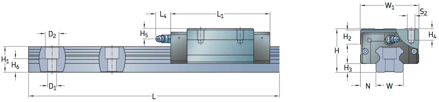 CAD LLTHC R profile rail