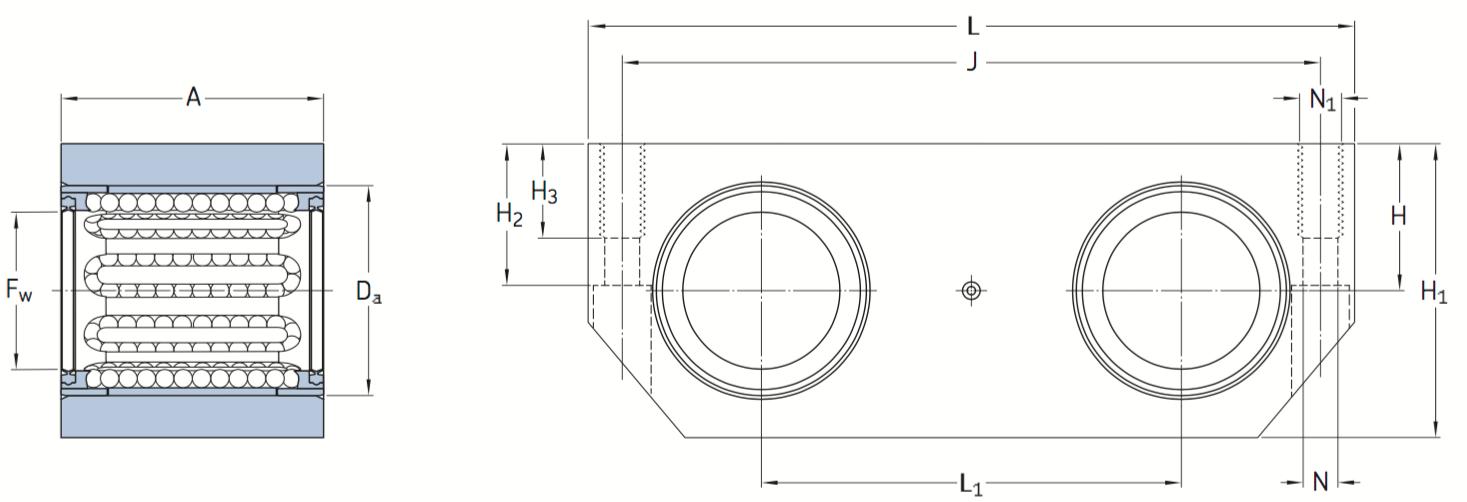 CAD afbeelding LTDR lagereenheid