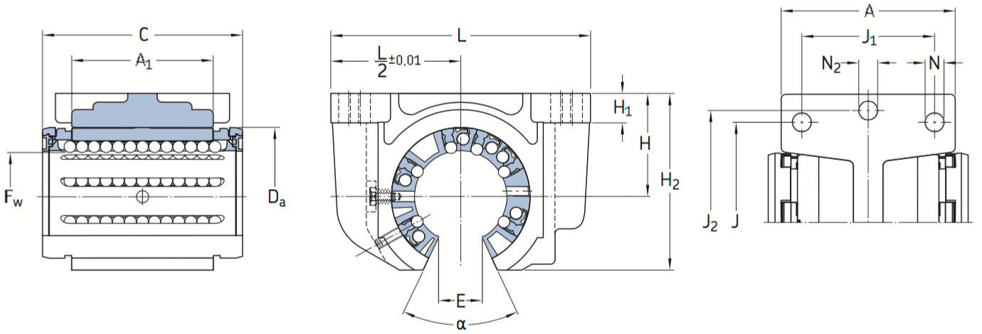 CAD afbeelding LUCF lagereenheid