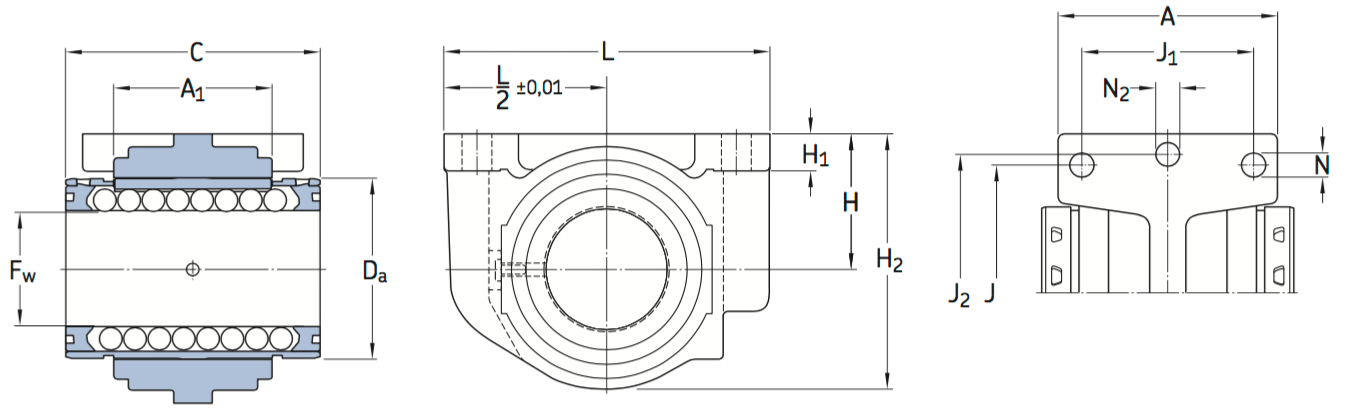 CAD SKF linear bearing unit LUCR PA