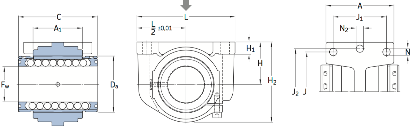 CAD afbeelding LUCS D lagereenheid