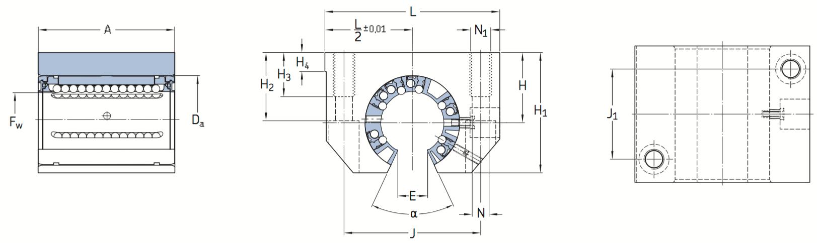 CAD afbeelding LUNF lagereenheid